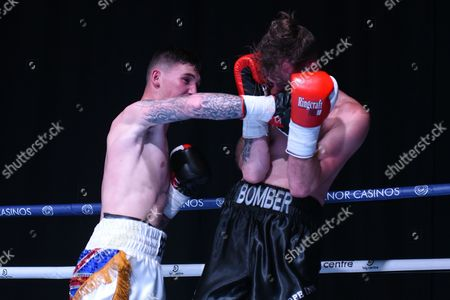 Drew Brown (white shorts) defeats Rob Brown during a Boxing Show at The Deco on 29th September 2017
