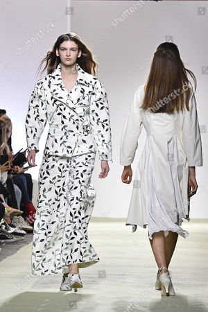 Stock Image of A model presents a creation of  the Spring/Summer 2018 Ready to Wear collection by Italian designer Marianna Rosati for Drome fashion house during the Paris Fashion Week, in Paris, France, 30 September 2017. The presentation of the Women's collections runs from 25 September to 03 October.