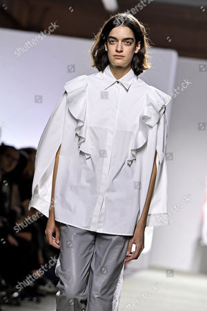 Stock Photo of A model presents a creation of  the Spring/Summer 2018 Ready to Wear collection by Italian designer Marianna Rosati for Drome fashion house during the Paris Fashion Week, in Paris, France, 30 September 2017. The presentation of the Women's collections runs from 25 September to 03 October.