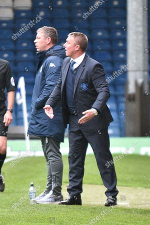 Bury Manager, Lee Clark during the EFL Sky Bet League 1 match between Bury and Milton Keynes Dons at the JD Stadium, Bury