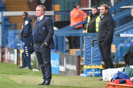 Bury Manager, Lee Clark,during the EFL Sky Bet League 1 match between Bury and Milton Keynes Dons at the JD Stadium, Bury