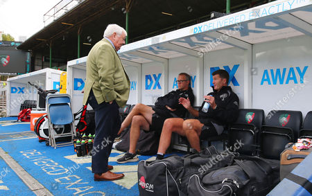 Tony Rowe OBE, Chairman of Exeter Chiefs talks with Exeter Chiefs Assistant Coach, Robin Hunter and Exeter Chiefs Director of Rugby, Rob Baxter before the Aviva Premiership Match between Leicester Tigers and Exeter Chiefs at Welford Road, Leicester - 30 Sept 2017 (