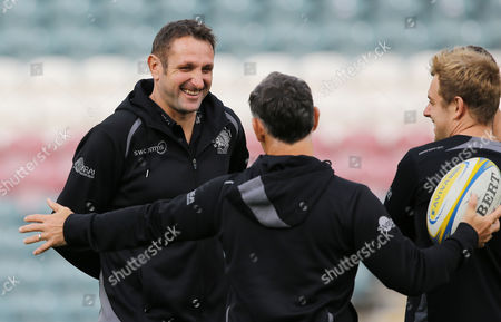 Exeter Chiefs Assistant Coach, Robin Hunter shares a joke with Exeter Chiefs Skills Coach, Ricky Pellow before the Aviva Premiership Match between Leicester Tigers and Exeter Chiefs at Welford Road, Leicester - 30 Sept 2017 (