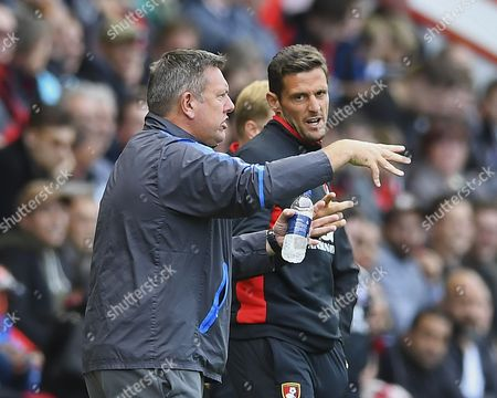 Leicester City Manager Craig Shakespeare makes a point as AFC Bournemouth Assistant Manager Jason Tindall looks on during AFC Bournemouth vs Leicester City, Premier League Football at the Vitality Stadium on 30th September 2017