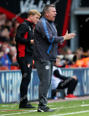 Leicester City Manager Craig Shakespeare shouts.
