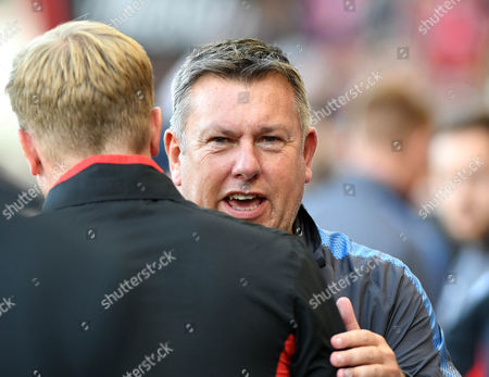 Craig Shakespeare, Leicester manager greets Eddie Howe, Bournemouth, manager , during the Premier League match between Bournemouth and Leicester City, at The Vitality Stadium (Dean Court) on 30th September 2017.