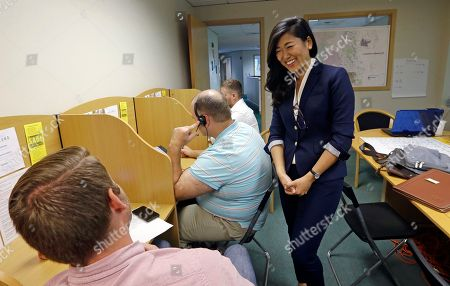 Stock Picture of Taken, Jinyoung Lee Englund, candidate for 45th district Senate seat in Washington, talks with phone bank volunteers at her campaign headquarters in Woodinville, Wash. The Washington state Senate is the only Republican-led legislative chamber on the West Coast, and a special election in a district east of Seattle has drawn millions of dollars and national attention to two political newcomers vying for the seat this November. Democrat Manka Dhingra and Republican Englund are seeking to serve the last year of a four-year term in the 45th legislative seat left vacant by the death of Republican Senator Andy Hill
