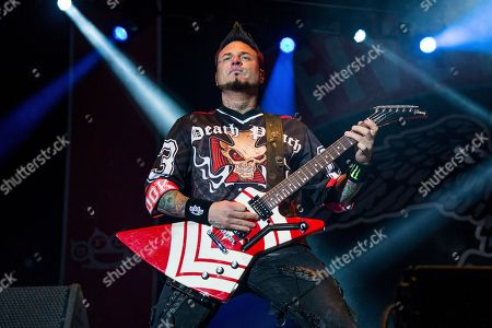 Jason Hook of Five Finger Death Punch performs at the Louder Than Life Music Festival at Champions Park, in Louisville, Ky