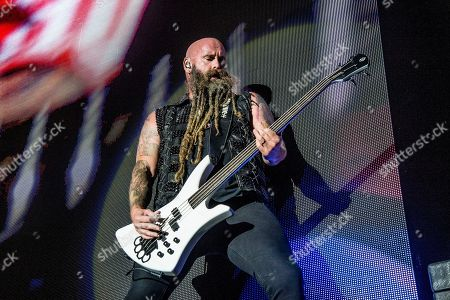Chris Kael of Five Finger Death Punch performs at the Louder Than Life Music Festival at Champions Park, in Louisville, Ky