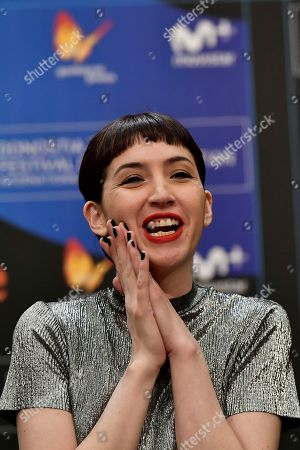 Argentinean actress Sofia Gala gestures during the press conference after receiving the Silver Shell for the best actress with the film 'Alanis, at the 65th San Sebastian Film Festival, in San Sebastian, northern Spain