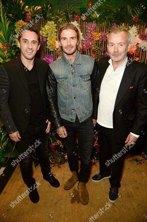 Gary Neville, David Beckham and Piers Adams