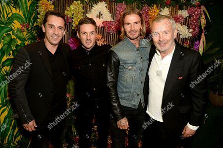 Gary Neville, Dave Gardner, David Beckham and Piers Adams