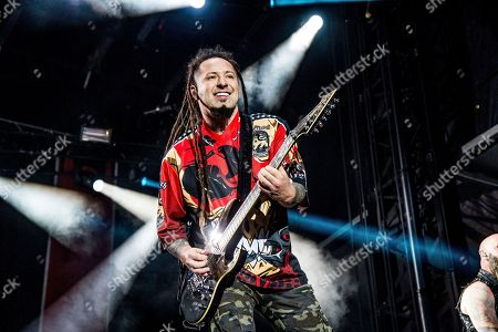 Zoltan Bathory of Five Finger Death Punch performs at the Louder Than Life Music Festival at Champions Park, in Louisville, Ky