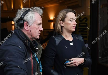 BBC political editor Laura Kuenssberg (R) awaits for the arrival of Boris Johnson at the Conservative Party Conference in Manchester, Britain, 01 October 2017. The conference runs from 01 to 04 October 2017.