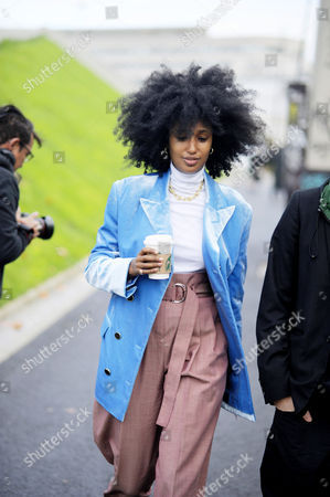 Julia Sarr Jamois arrival for  at Haider Ackermann Paris Fashion Week