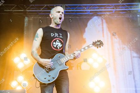 Zach Blair of Rise Against performs at the Louder Than Life Music Festival at Champions Park, in Louisville, Ky