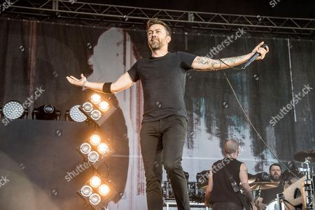 Tim McIlrath of Rise Against performs at the Louder Than Life Music Festival at Champions Park, in Louisville, Ky