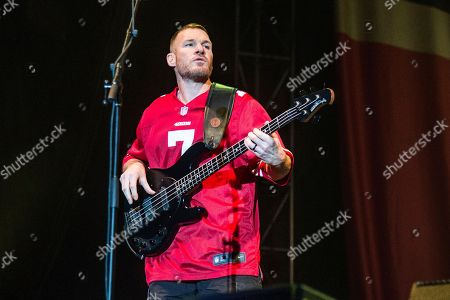 Tim Commerford of Prophets of Rage performs at the Louder Than Life Music Festival at Champions Park, in Louisville, Ky