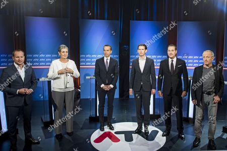 (L-R) NEOS party leader Matthias Strolz, Top candidate of the Austrian Green Party Ulrike Lunacek, Austrian Chancellor and head of the Social Democratic Party (SPOe) Christian Kern, Austrian Foreign Minister Sebastian Kurz, the leader and top candidate of the Austrian Peoples Party (OeVP), Leader of the right-wing Austrian Freedom Party (FPOe) Heinz-Christian Strache and former member of the Austrian Green Party and head of the list Pilz, Peter Pilz pose for photographs ahead of a television debate in Vienna, Austria, 01 October 2017. Austrian federal elections will take place on 15 October 2017.