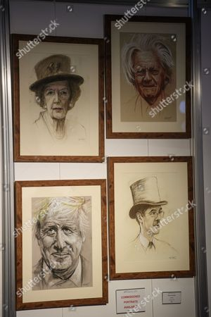 Stock Picture of Baroness Margaret Thatcher, Michael Heseltine, Boris Johnson and Jacob Rees-Mogg, Portrait drawings of world leaders and politicians on display, seen on the opening day of the Conservative Party Conference. There have been conflicts within the conservative party and government over the UK's approach to Brexit, which is expected to feature heavily at this years event.