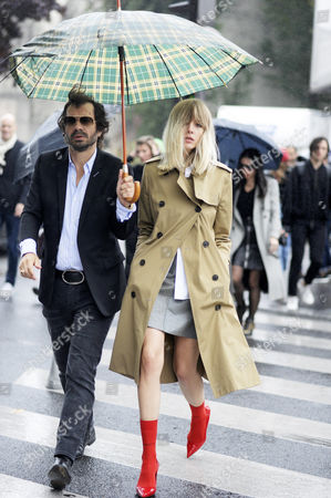Stock Picture of Olivier Zahm Editor and founder of PURPLE Magazine with Creative Director Amanda Wall after Celine Paris Fashion Week