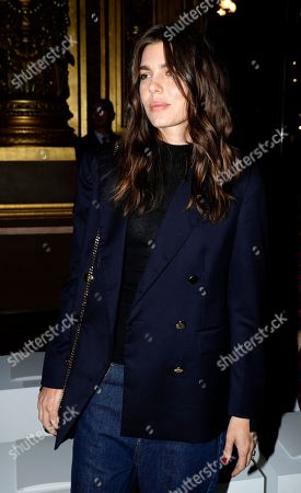 Princess Charlotte Casiraghi arrives at Stella McCartney's Spring-Summer 2018 ready to wear fashion collection in Paris, Monday, Oct.2, 2017