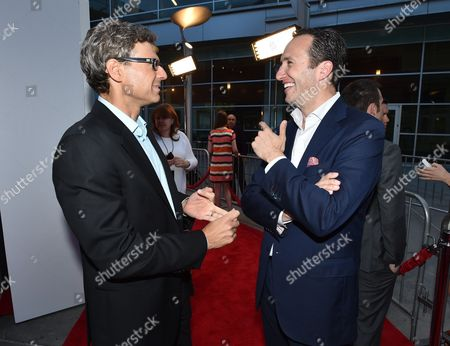 """Stock Image of Executive producer Jonathan Lisco, left, and AMC President Charlie Collier arrive at the AMC premiere of """"Halt and Catch Fire"""" at The Church Key, in West Hollywood, Calif"""
