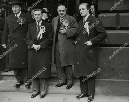 Candidates For The Wavertree By-election. The Four Candidates On The Steps Of Liverpool Town Hall. L-r: James Platt (con.) Joseph Cleary (lab.) Tudor Artro Morris (lib.) And Mr Randolph Churchill. Box 750 914041716 A.jpg.