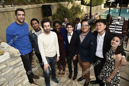 Jonathan Togo, Tony Revolori, Simon Helberg and students attend the Ghetto Film School Table Read event held at Brett Ratner's Hilhaven Lodge in Beverly Hills, Calif on . Actors read Ghetto Film School students' scripts and provided notes along with directors Brett Ratner, Lee Daniels and David O. Russell for films to be produced by students this Summer in London