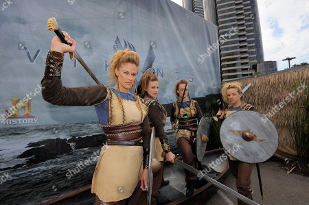 Viking Sheild Maidens pose at All Hail Vikings: An Interactive Experience outside the 2013 Comic-Con International Convention on in San Diego. Throughout the weekend, fans competed in longboat races in a custom 50-foot waterway, met with cast members and received a limited edition comic book written by series creator Michael Hirst