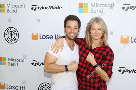Nathan Kress, left, and London Elise Moore seen at Microsoft Band Event at the Microsoft Lounge, in Venice, Calif