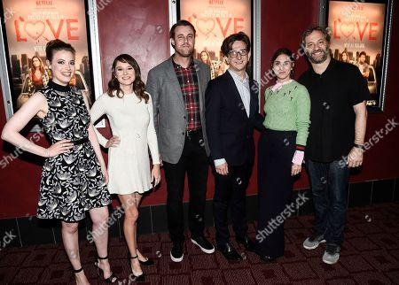 Stock Image of From left to right, actress Gillian Jacobs, actress Claudia O'Doherty, actor Christ Witaske, actor Paul Rust, executive producer Lesley Arfin, and executive producer Judd Apatow seen at a panel discussion following a Netflix screening of Love Season 1 at the Arclight Cinemas Hollywood, in Los Angeles