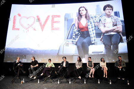 Stock Picture of From left to right, actor and moderator David Spade, executive producer Lesley Arfin, actor Paul Rust, director Maggie Carey, actress Gillian Jacobs, actress Claudia O'Doherty, and actor Christ Witaske seen at a panel discussion following a Netflix screening of Love Season 1 at the Arclight Cinemas Hollywood, in Los Angeles