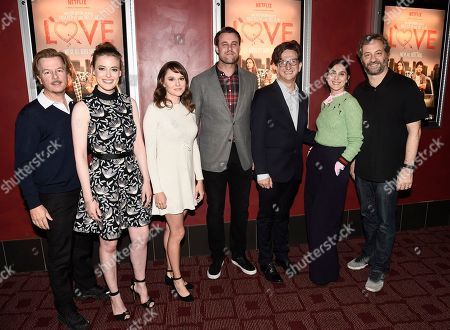 From left to right, actor and moderator David Spade, actress Gillian Jacobs, actress Claudia O'Doherty, actor Christ Witaske, actor Paul Rust, executive producer Lesley Arfin, and executive producer Judd Apatow seen at a panel discussion following a Netflix screening of Love Season 1 at the Arclight Cinemas Hollywood, in Los Angeles