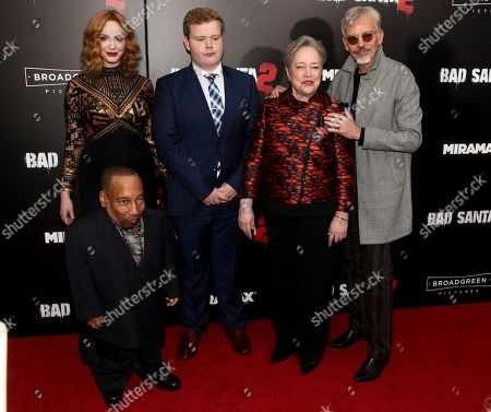 "Stock Picture of Christina Hendricks, from left, Tony Cox, front, Brett Kelly, Kathy Bates and Billy Bob Thornton attend the premiere of ""Bad Santa 2"" at AMC Loews Lincoln Square, in New York"
