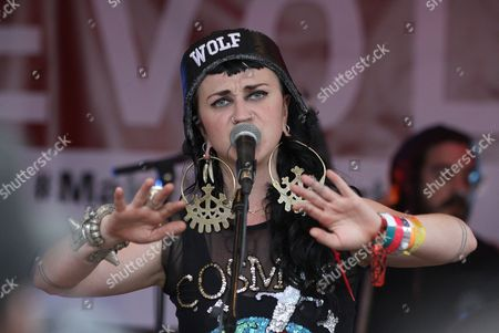 """Hiatus Kaiyote with lead vocalist, Nai Palm is seen performing at the """"REVOLT Block Party presented by Toyota #MakeYourMark"""" during SXSW Music on in Austin, Texas"""