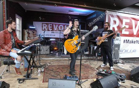 """Hiatus Kaiyote with lead vocalist, Nai Palm center, are seen performing at the """"REVOLT Block Party presented by Toyota #MakeYourMark"""" during SXSW Music on in Austin, Texas"""