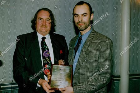 Designer Harry Cole (r) Of Renaissance Design Ltd Being Presented With The Daily Mail - Ryman Small Business Award By Businessman Sir John Harvey Jones. Box 754 1002051766 A.jpg.