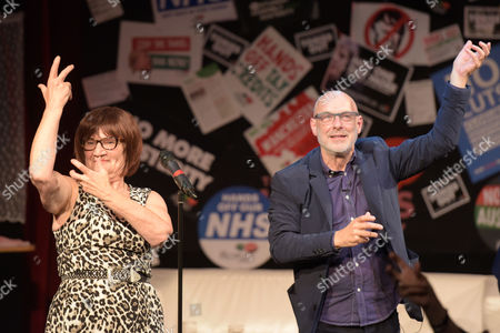 Actress and Comedian, Barbara Nice, and Musician, Brian Eno dancing at Saturday Night Live Manchester chat show event as part of the Take Back Manchester festival