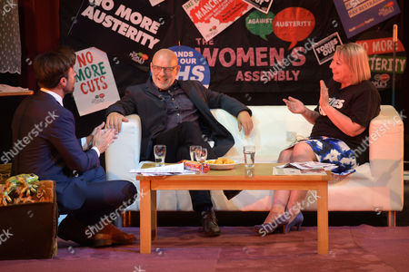 Jolyon Rubinstein from The Revolution Will Be Televised; Musician, Brian Eno; and Penny Hicks from Manchester People's Assembly at Saturday Night Live Manchester chat show event as part of the Take Back Manchester festival