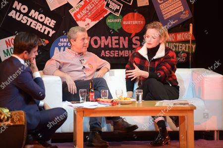 Jolyon Rubinstein from The Revolution Will Be Televised, Mark Serwotka, General Secretary of the PCS Union, and Actress, Maxine Peake at Saturday Night Live Manchester chat show event as part of the Take Back Manchester festival
