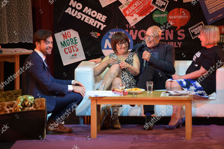 Jolyon Rubinstein from The Revolution Will Be Televised, Actress and Comedian, Barbara Nice, Musician, Brian Eno, and Penny Hicks from Manchester People's Assembly at Saturday Night Live Manchester chat show event as part of the Take Back Manchester festival