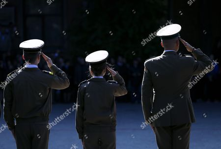 Romanian cadets salute the arrival of the Romanian Defense minister Mihai-Viorel Fifor (not pictured), during the opening ceremony of the new academic year held at the Technical Military Academy headquarters in Bucharest, Romania, 02 October 2017. Each year, Ecole Speciale Militaire de Saint-Cyr (Special Military School of Saint-Cyr) of France and Technical Military Academy of Romania exchange students, as part of the old tradition of collaboration between the two military schools.