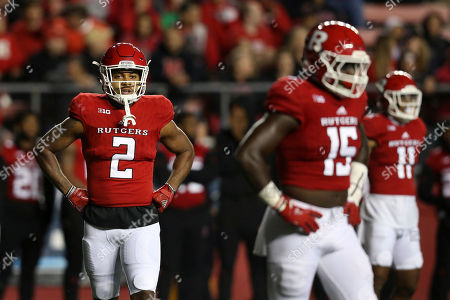 Kly Hester, Isaiah Wharton, Trevor Morris. Rutgers defensive backs Kly Hester (2) and Isaiah Wharton (11) and linebacker Trevor Morris (15) stand on the field during an NCAA college football game against Ohio State, in Piscataway, N.J