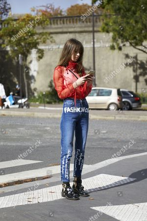 Editorial photo of Street Style, Spring Summer 2018, Paris Fashion Week, France - 30 Sep 2017
