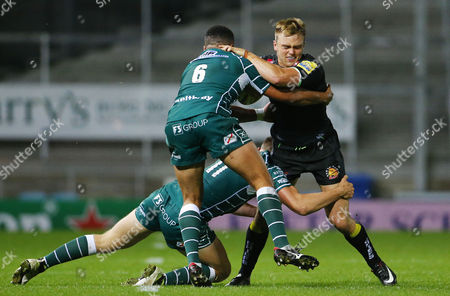 Harry Strong of Exeter Braves is tackled by Isaac Curtis-Harris of London Irish during the Aviva Premiership A-League match between Exeter Braves and London Irish at Sandy Park on October 2nd 2017 , Exeter, Devon (
