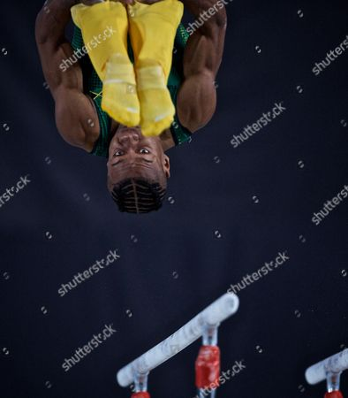Stephen Lewis of Jamaica at the parallel bars  at the 2017 FIG Artistic Gymnastics World Championships , Montreal, Canada,  02 October 2017. Montreal will host the 2017 FIG Artistic Gymnastics World Championships which runs 02- 08 October.