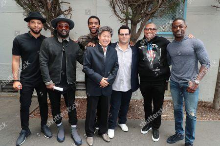 Stock Photo of Jussie Smollett, Will.i.am, Chadwick Boseman, Donald Tang, Tang Media Partners Founder, Josh Gad, Reginald Hudlin - Producer/Director and Sterling K. Brown