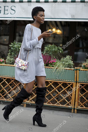 Editorial photo of Street Style, Spring Summer 2018, Paris Fashion Week, France - 02 Oct 2017