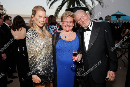 From left, Cassandra Mann, Claudia Mann and Alfred Mann attend the 10th annual Alfred Mann Foundation Gala, in Beverly Hills, Calif